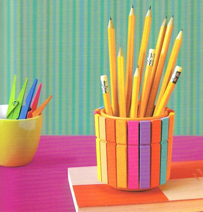 diy pencil holder colourful  clothespins idea