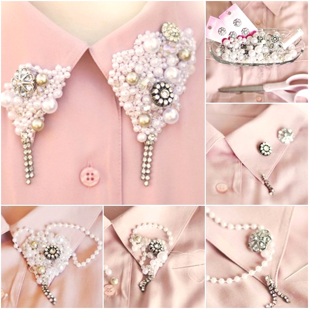 diy shirt collar pearls buttons embellishments