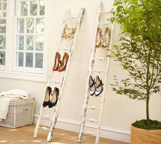 diy shoe rack leaning ladder wall outdoor