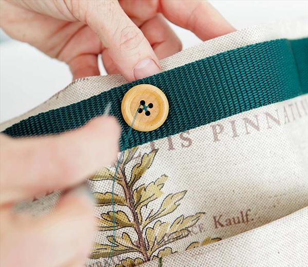 diy storage ideas garden tools organizer cloth buttons grosgrain ribbons