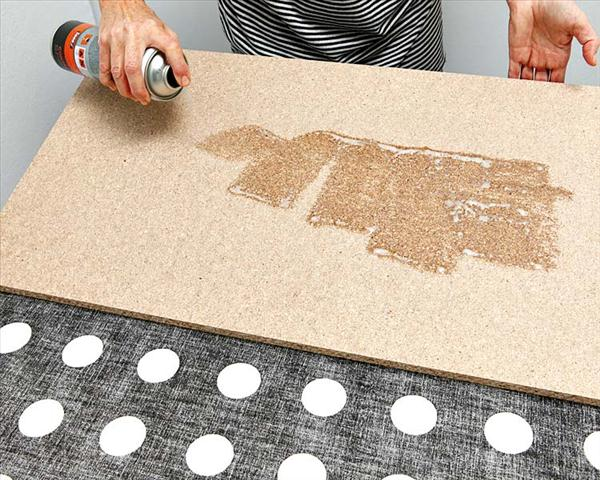 diy storage ideas kitchen utensils laminated fabric spray glue cork board