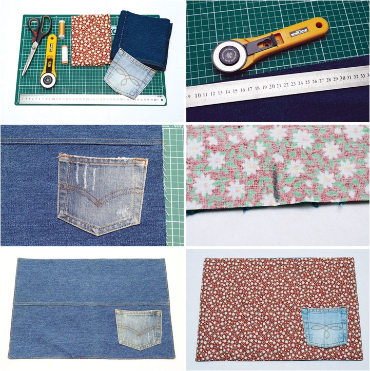 diy table decor ideas recycling denim jeans table mat