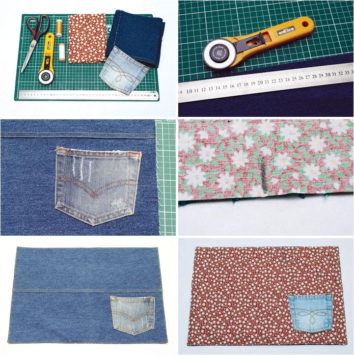 diy table decor ideas recycling denim jeans table mat