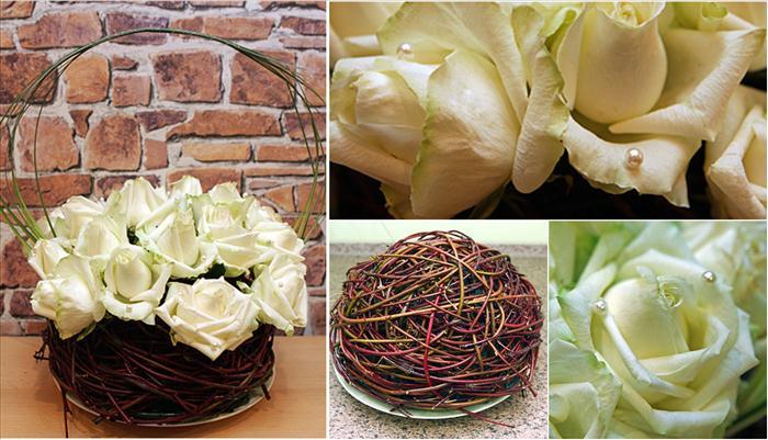diy wedding flower arrangement table white roses ball sticks