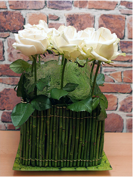 diy wedding white roses arrangement ideas rose stems