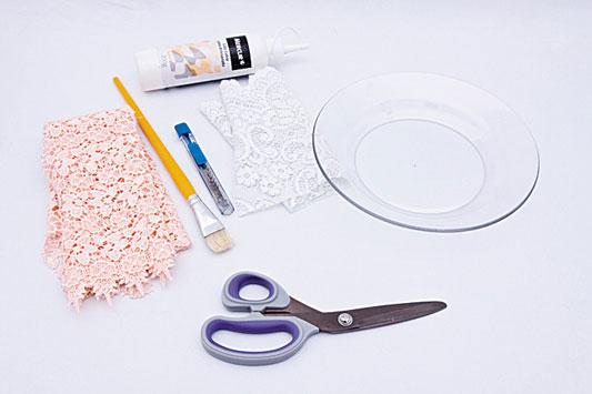 glass plate decorating ideas lace fabric decoupage
