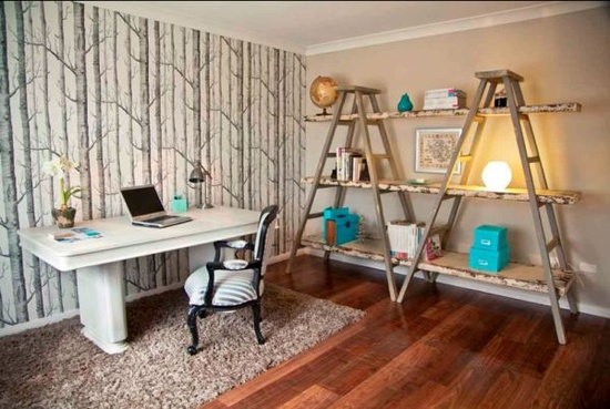 home office decor shelf storage old ladder
