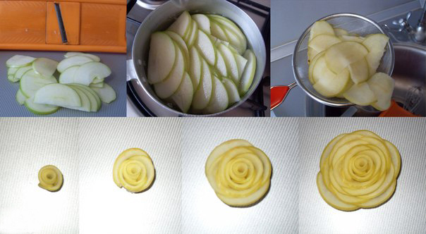 how to make apple roses slices boil syrop