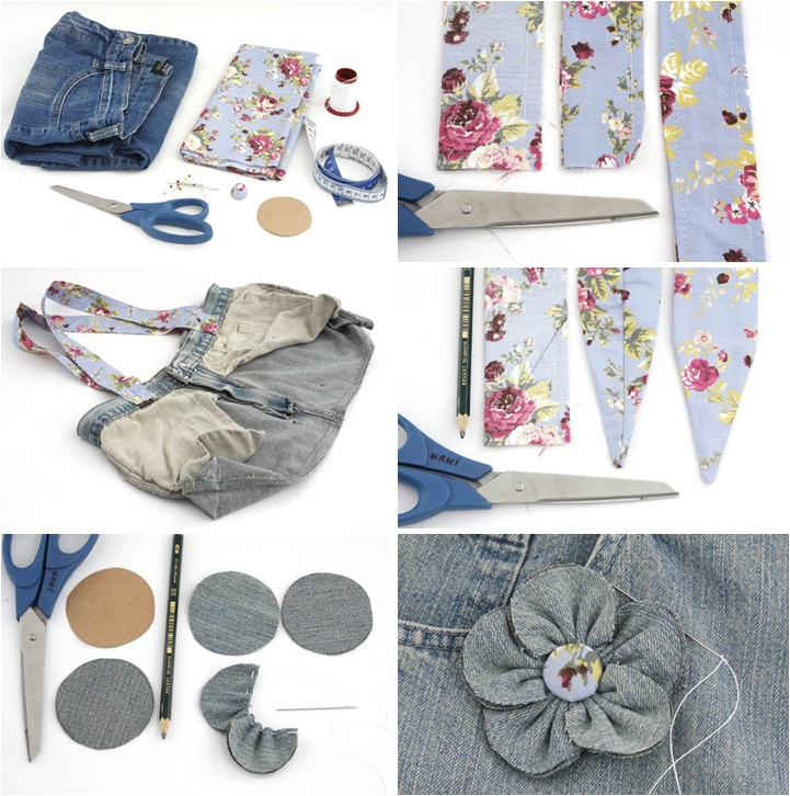 ideas recycling jeans denim handbag fabric ribbon