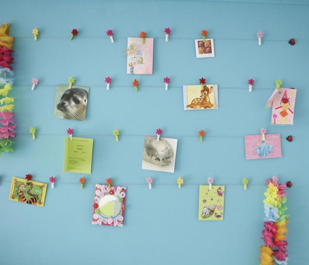 ikea mini clothespins flowers wall decor photos cards