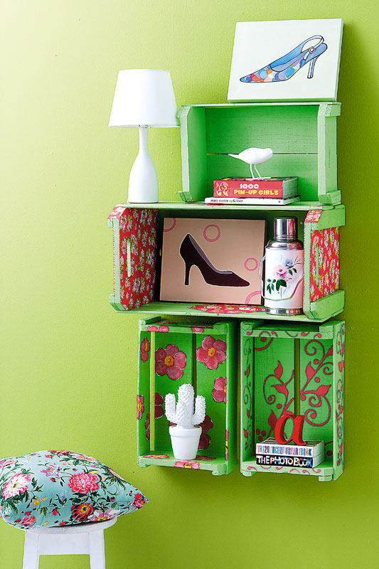 inexpensive diy wall shelves wooden wine crates paint