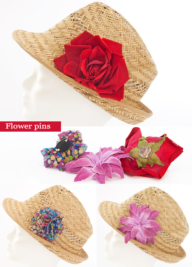 jazz up fashionable straw hat flower pins summer fashion ideas