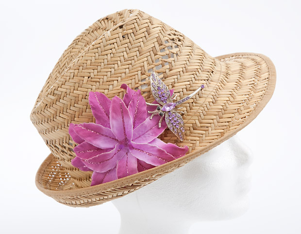 jazz up summer straw hat faux flower brooch