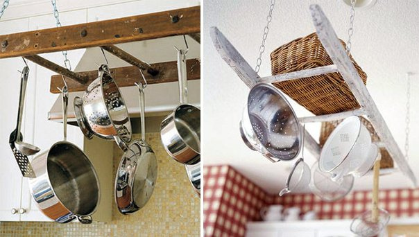 kitchen storage idea suspended ladder pans