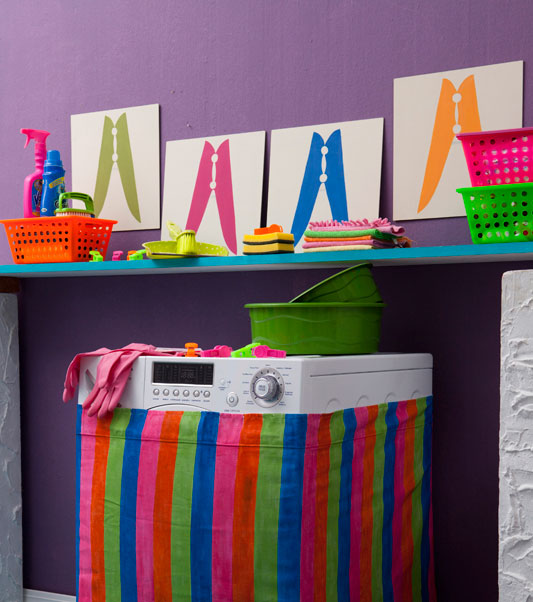 laudry room diy wall decor colourful clothespins silhouettes