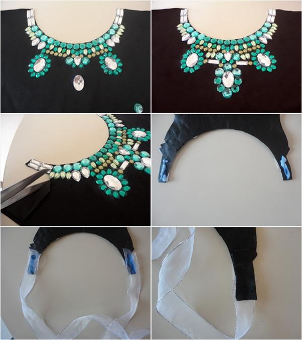 DIY collar necklace for straples top and embellished shirt ...