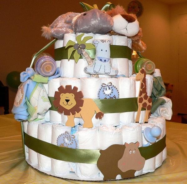make diaper cake baby boy safari animals theme toys