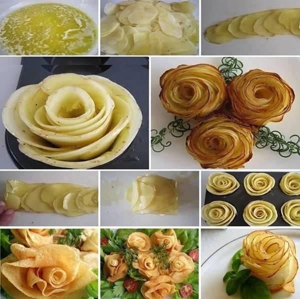 make roses potatoes thin slices bake