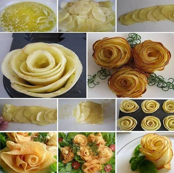 make roses potatoes thin slices bake