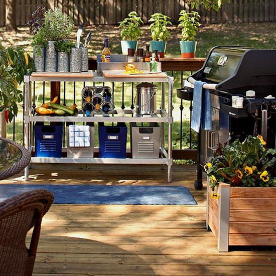 outdoor deck arrange furniture ideas gardening tools