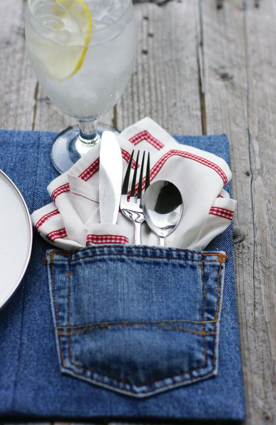 recycling denim jeans place mat cutlery napkin country style decor