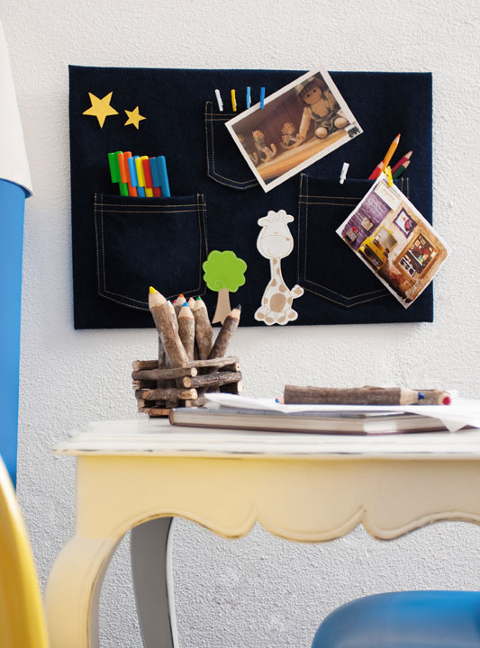 recycling old jeans organization wall kids room pens