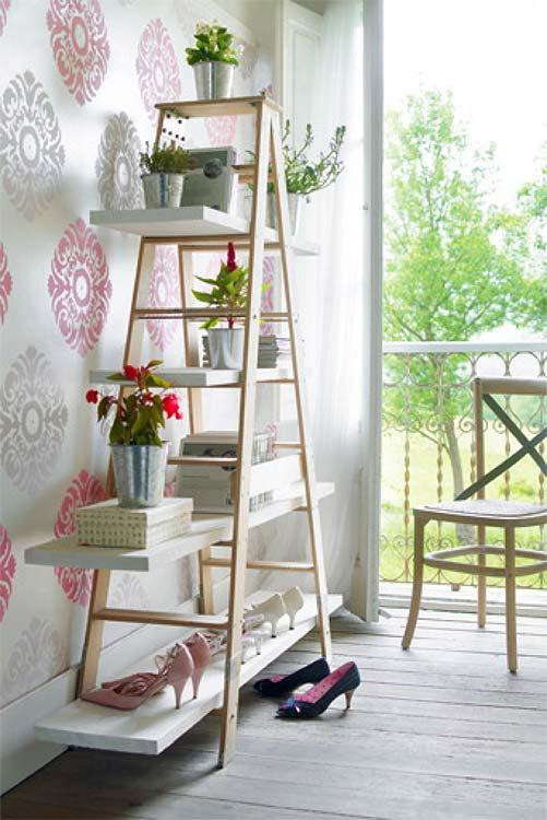 reuse standing ladder shelf ideas home shoe rack flower stand