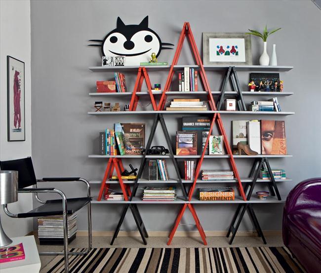 shelving unit old ladders bookcase arrangement