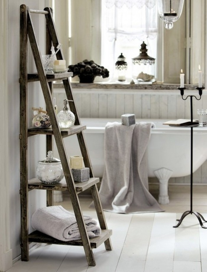 standing wooden ladder shelf bathroom storage ideas towel rack