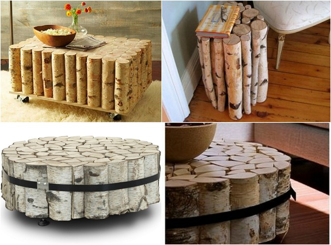 Summer Decorating Ideas  Balcony Birch Logs Tables