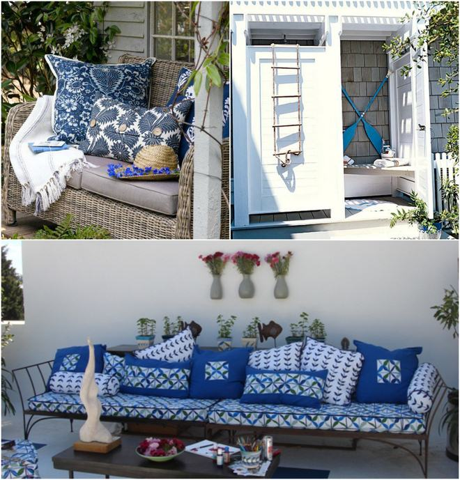 Summer decorating ideas balcony terrace marine blue white for Terrace party decoration ideas
