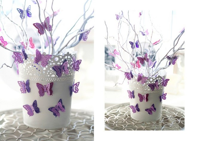 summer-decorating-ideas-flower-pot-branches-decorated-paper-butterflies