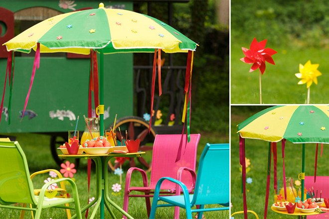 Summer decorating ideas garden-sunshade-felt-flowers-ribbons