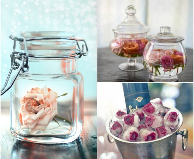 Summer decorating ideas glass jars bowls roses - Designs in glasses for house decoration ...