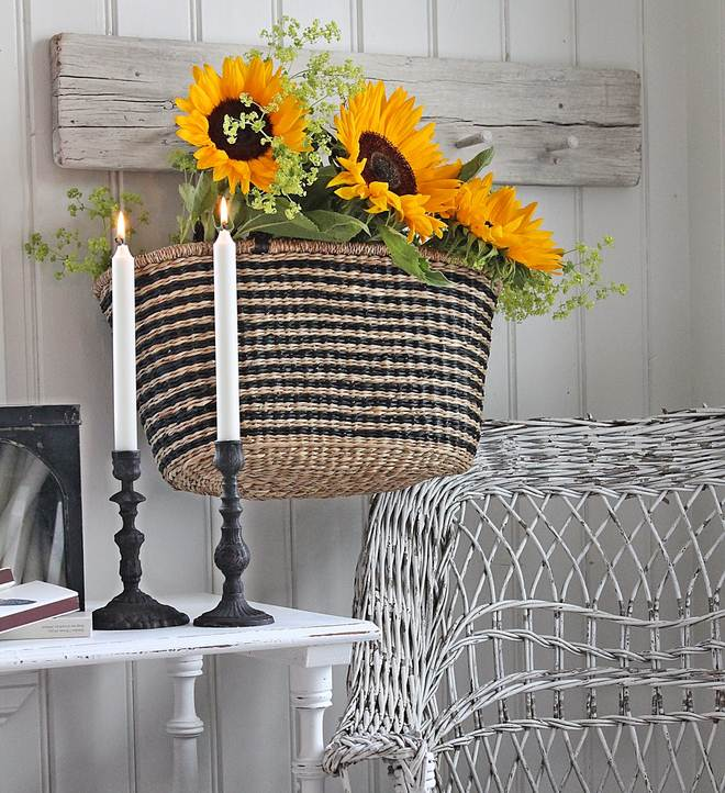 Summer decorating ideas home-sunflowers-basket-living-room