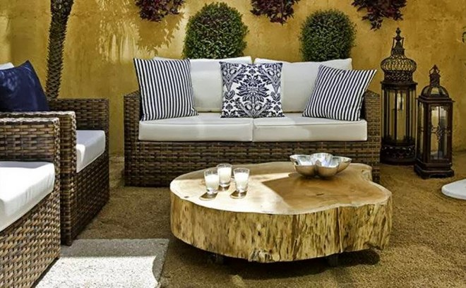 Summer Decorating Ideas Patio Terrace Wooden Log Coffee Table Rattan Outdoor  Furniture