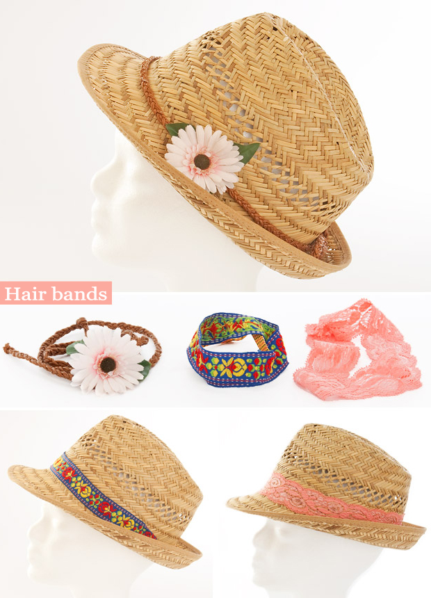 summer diy fashion ideas straw hat hair bands flower laces