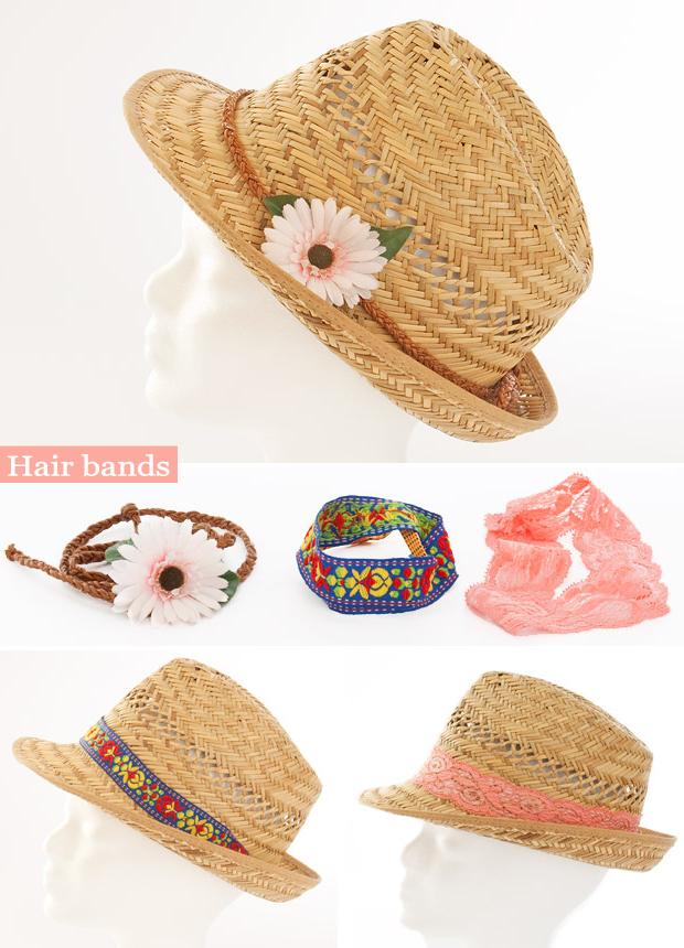 summer diy fashion ideas straw hat hair bands flower laces