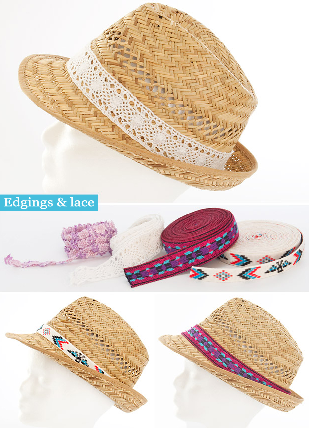 summer fashion ideas edgings laces decorate summer straw hat