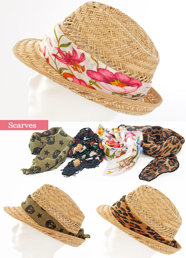 summer straw hat decorations ideas scarves