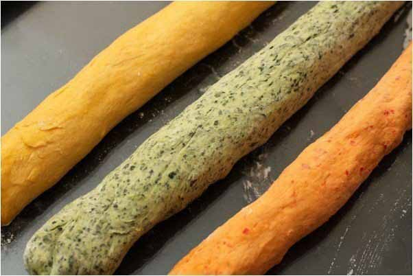 bread recipe make tri-colored braided bread vegetables