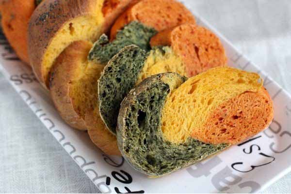 bread recipe make tri-colored bread spinach pumpkin paprika