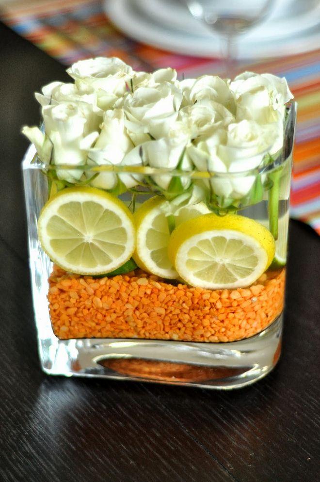 Orange Decorating Ideas For Living Room: Decorating-ideas-lemons-vase-fillers-orange-colored-sand
