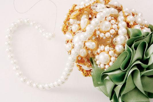 diy brooch bridal bouquet pearls fill holes