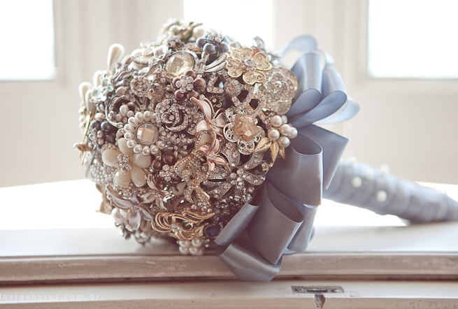 diy brooch wedding bouquet vintage blue satin ribbon