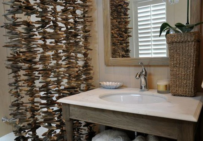 diy driftwood decor bathroom partition