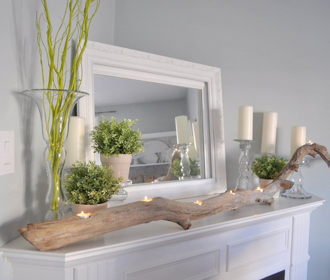 Diy Driftwood Decor Ideas Candle Holder Branch Fireplace Mantel