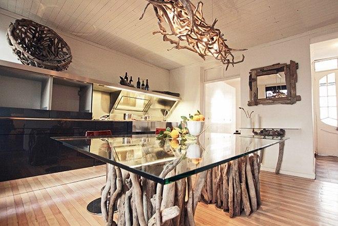 Diy Driftwood Decor Rectangular Dining Table Glass Top
