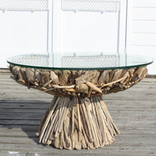 diy driftwood decor round dining table glass top