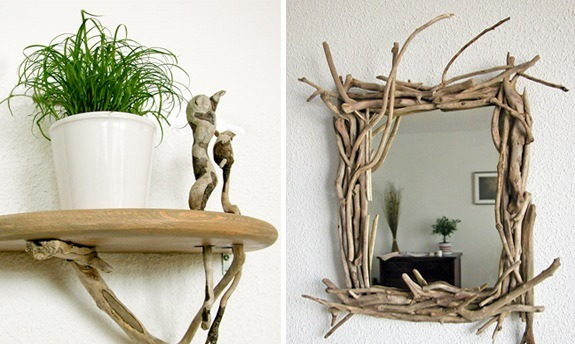 diy driftwood decor wall shelf mirror frame - Decorate Mirror Frame